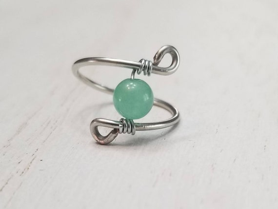 Green Aventurine Wire Wrapped Ring | Aventurine Jewelry | Gemstone Ring | Wire Jewelry | Statement Ring | Aventurine Ring | Crystal Ring