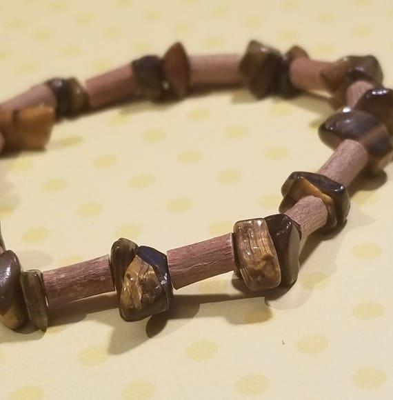 Pure Hazelwood and Tigers Eye Stone Stretch Bracelet   Healing Jewelry