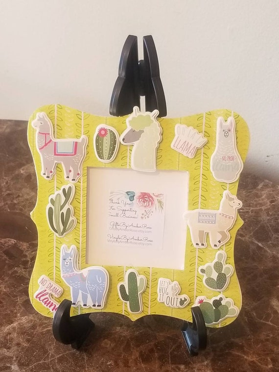 Llama Cactus Scrapbook Frame | Cacti Frame | Llama Decor | Succulent Frame | Cactus Decor | Llama Theme | Cute Frame | Cute Decor | Unique