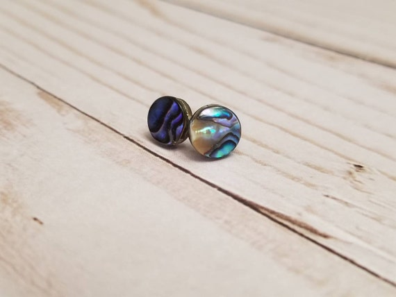 Abalone Shell Round Post Earrings | Shell Jewelry | Abalone Jewelry | Abalone Earrings | Shell Earrings | Multicolored Shell Jewelry