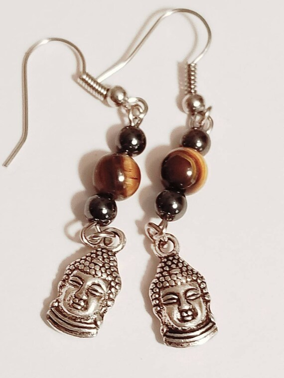Tiger Eye Buddha Earrings | Gemstone Jewelry | Tiger Eye Jewelry | Buddha Jewelry | Buddha Earrings | Gemstone Earrings