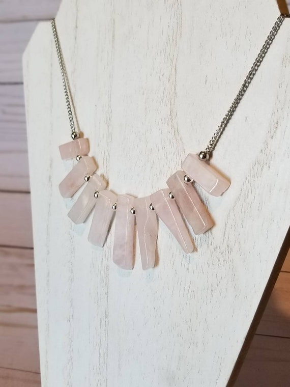 Rose Quartz Stick Point Crystal Necklace | Rose Quartz Stone Jewelry | Gemstone Necklace | Statement Jewelry | Gifts For Her | Quartz