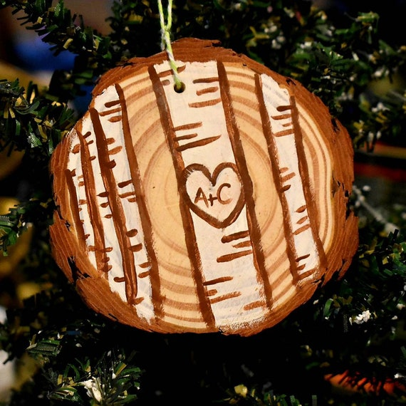 Personalized Wood Slice Couples Ornament | Initials Tree Ornament | Birch Trees Ornament | Ornament Exchange | Relationship Ornament