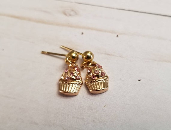 Tiny Cupcake Earrings | Dainty Jewelry | Food Jewelry | Cupcake Jewelry | Foodie Gifts | Cupcake Gifts | Tiny Earrings | Food Accessories