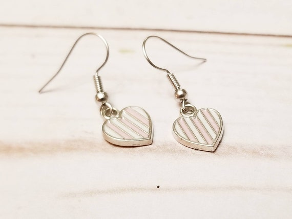Pink White Striped Heart Earrings | Valentine's Day Earrings | Valentine's Day Accessories | Heart Jewelry | Heart Earrings | Holiday