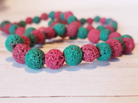 Christmas Lava Stone Stretch Bracelet | Red Lava Stone | Green Lava Stone | Holiday Accessories | Christmas Jewelry | Lava Stone Jewelry