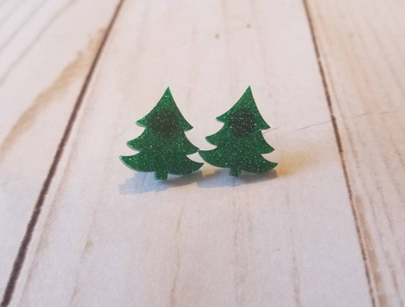 Sparkly Green Christmas Tree Earrings | Christmas Jewelry | Holiday Earrings | Holiday Accessories | Stocking Stuffers | Party Jewelry