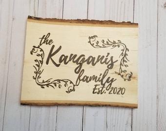 Personalized Family Name Wood Slice Decor | Custom Wood Decor | Family Gifts | Rustic Decor | Engraved Wood Decor | Last Name | Family Est.