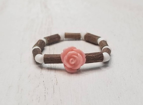 Pure Hazelwood Infant Kids Pink White Rose Bracelet Anklet | Teething Jewelry | Excema Remedy | Natural Remedies | Hazel Wood | Baby Jewelry