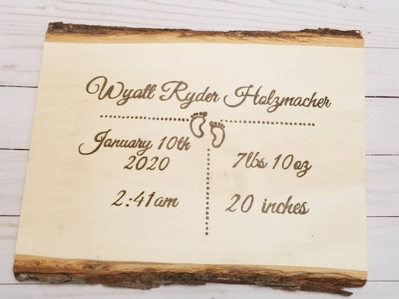 Personalized Woodburned Baby Wood Slice | New Baby Gifts | Birth Stats | Baby Gifts | Wood Decor | Nursery Decor | Engraved Wood Decor