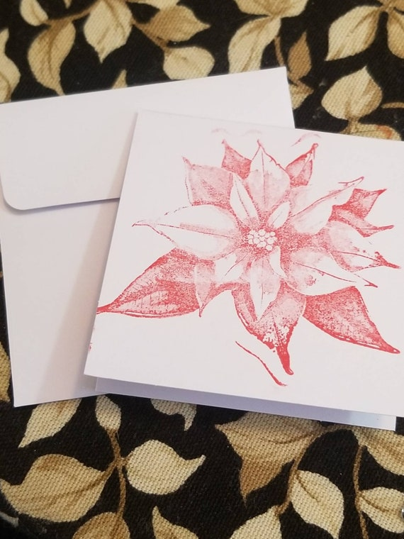 Small Note Cards | Set of 5 | Red Poinsettia Cards | Note Cards | Blank Cards | Small Cards | Christmas Note Cards