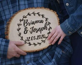 Personalized Wood Burned Tree Slice | Rustic Wedding Decor | Rustic Wood Decor