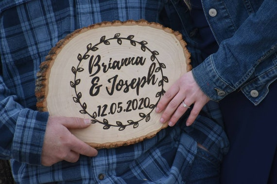 Personalized Wood Burned Tree Slice | Rustic Wedding Decor | Rustic Wood Decor