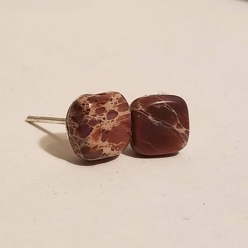 Jasper Stone Chinese Imperial Jasper Stud Earrings Gemstone Earrings Imperial Jasper