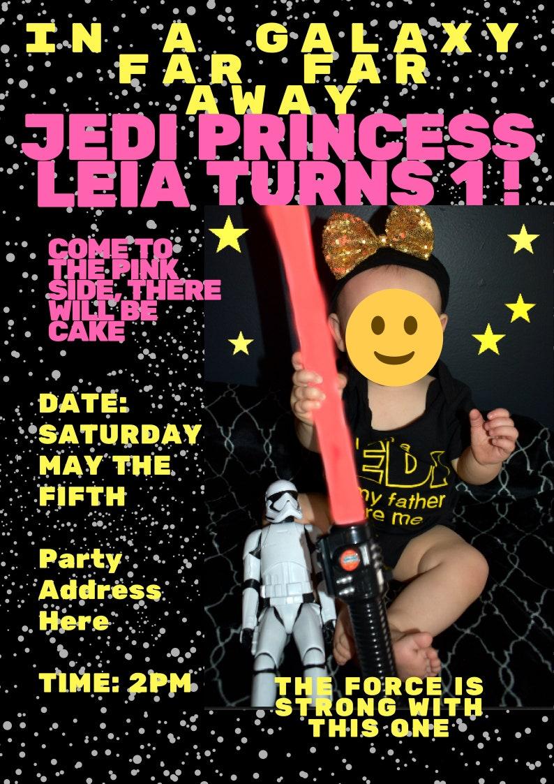 Custom Girls Star Wars Birthday Invitation Party