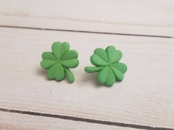 Light Green Shamrock Earrings | St Patrick's Day Earrings | Irish Pride | St Patty's Day | Shamrock Jewelry | Stud Earrings | Post Earring
