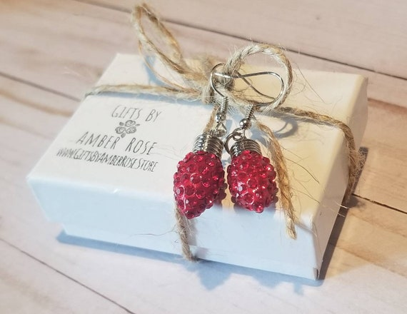Red Christmas Lights Earrings | Christmas Light Jewelry | Festive Earrings | Christmas Party Jewelry | Holiday Earrings | Stocking Stuffer