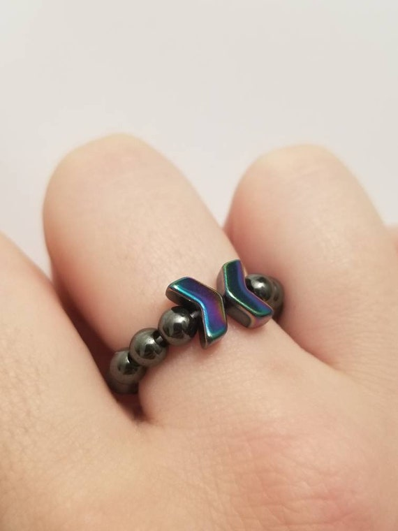 Iridescent Hematite Arrow Stretch Ring | Hematite Ring | Arrow Ring