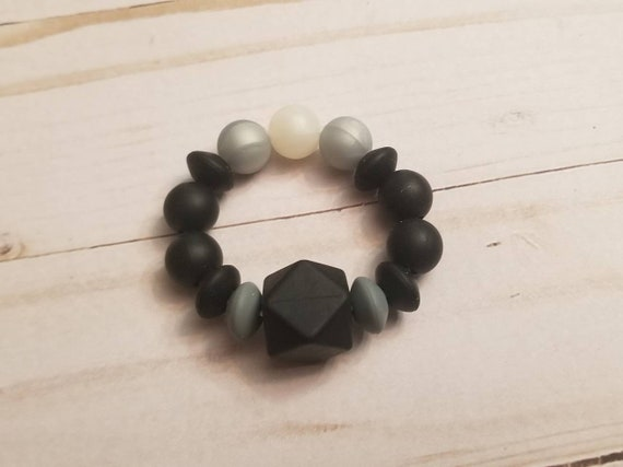 Black Grey Baby Teething Ring | Baby Teether | Teething Toys | Teethinf Accessories | Baby Shower Gift | Infant Toys | New Baby Gift