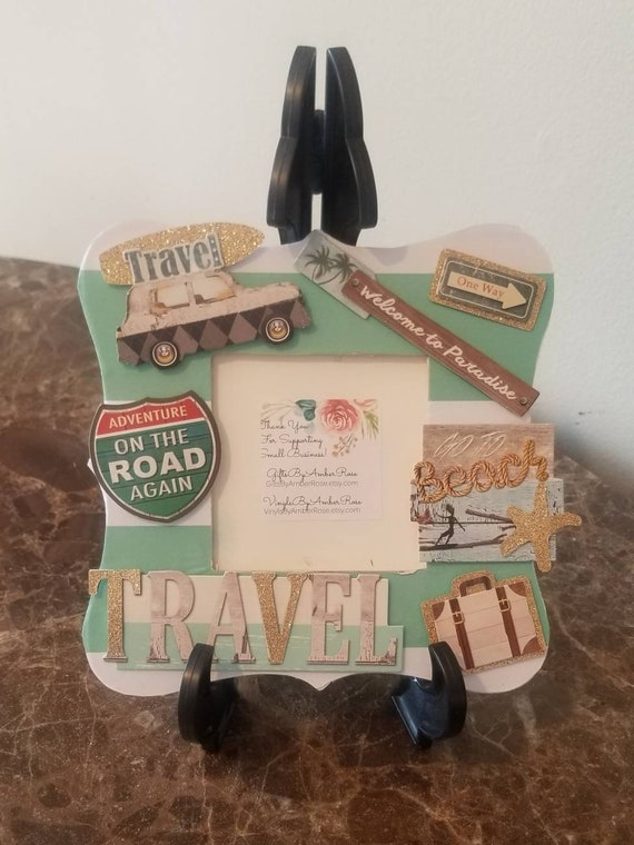 Travel Beach Scrapbook Frame | Table Top Frames | Vacation Frame | Decorative Frame | Roadtrip Frame | Traveling | Adventure | Picture Frame