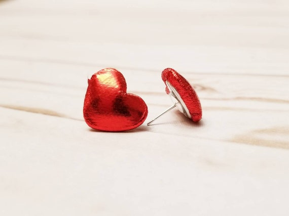 Red Heart Valentine's Day Earrings | Stud Earrings | Post Earrings | Valentine's Day Jewelry | Heart Earrings | Valentine's Day Accessories