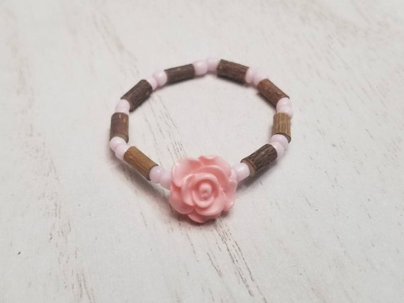 Pure Hazelwood Infant Kids Pink Rose Bracelet Anklet   Teething Jewelry   Excema Remedy   Natural Remedies   Hazel Wood   Baby Jewelry