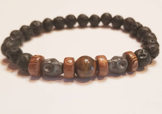 Mens Black Lava Stone Tiger Eye Bracelet | Skull Bracelet | Wood Bracelet | Mens Gemstone Bracelet | Stretch Bracelet
