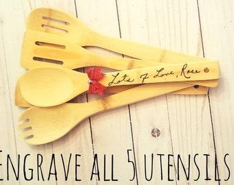 Set of 5 Custom Engraved Copied Handwriting Bamboo Kitchen Utensil Set | Engraved Wooden Spoon | Woodburned Spoons | Copied Handwriting |