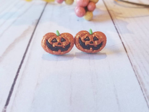 Glitter Jack O Lantern Pumpkin Earrings   Sparkly Halloween Earrings   Fall Accessories   Holiday Accessories   Halloween Jewelry   Autumn