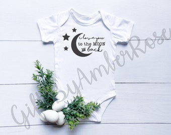 Love You To The Moon And Back Baby Bodysuit | Unisex Baby Gifts | Bodysuit | Gender Neutral | New Baby Gift