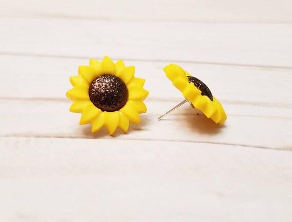 Sunflower Post Earrings | Flower Earrings | Sunflower Jewelry | Sunflower Accessories | Flower Accessories | Spring Summer Jewelry