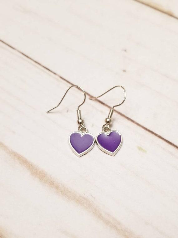 Purple Heart Earrings | Valentine's Day Earrings | Valentine's Day Accessories | Heart Jewelry | Heart Earrings | Holiday Accessories
