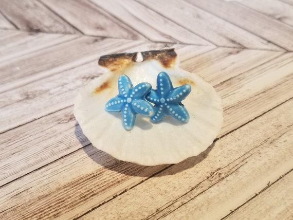 Blue Starfish Stud Earrings | Starfish Jewelry | Sea Star Jewelry | Beach Earrings | Beach Jewelry | Ocean Jewelry | Ocean Earrings