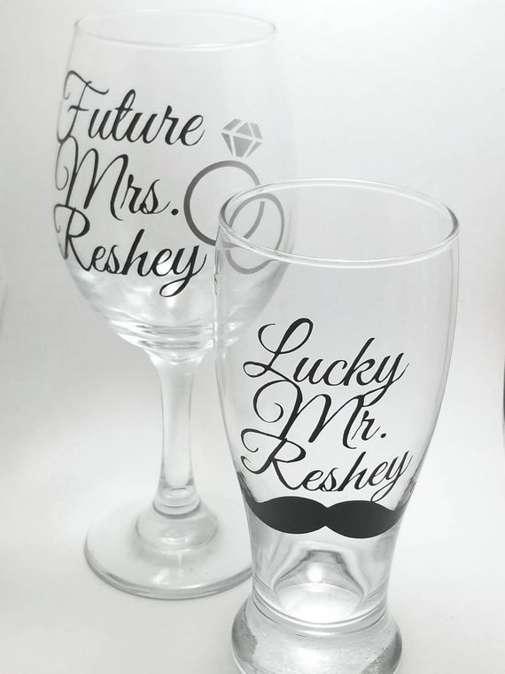Personalized Engagement Drinkware Set | Custom Engagement Gift | Wine Glass | Beer Glass | Lucky Mr | Future Mrs