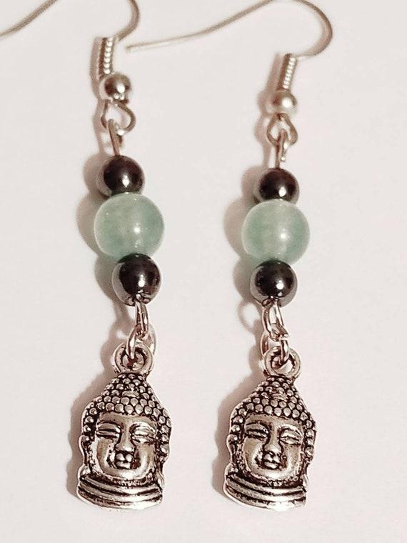 Aventurine Buddha Earrings | Gemstone Jewelry | Aventurine Jewelry | Buddha Jewelry | Buddha Earrings | Gemstone Earrings