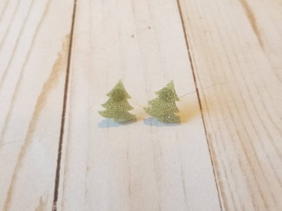 Light Green Sparkly Christmas Tree Earrings | Holiday Accessories | Christmas Jewelry | Holiday Earrings | Costume Jewelry | Stocking Stuff