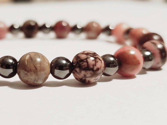 Rhodonite Stretch Bracelet | Rhodonite Jewelry | Hematite Jewelry | Gemstone Jewelry | Chakra Jewelry