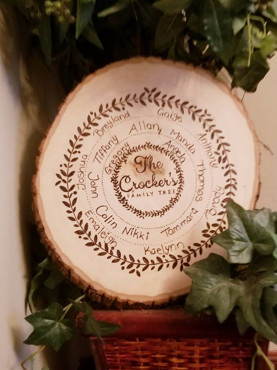 Personalized Family Tree Wood Slice | Rustic Gifts | Woodburned Gifts | Custom Names | Wood With Bark | Grandparents Gifts