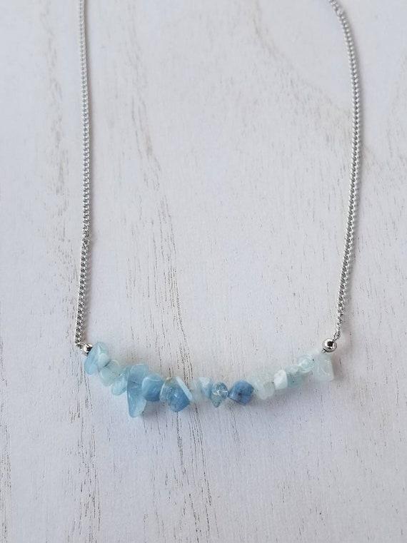 Aquamarine Stone Chip Necklace | Aquamarine Jewelry | Birthstone Jewelry | Gemstone Jewelry | Gemstone Chips | Statement Necklace | Elegant