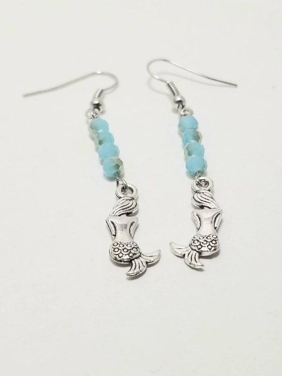 Mermaid Dangle Earrings | Beaded Earrings | Mermaid Jewelry | Mermaid Accessories | Under The Sea Gifts | Beach Jewelry | Ocean Jewelry
