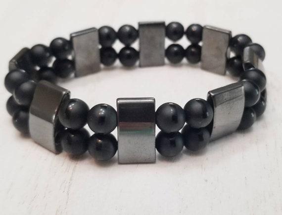 Mens Hematite Onyx Stretch Bracelet | Stone Bracelet For Men | Mens Jewelry | Gifts For Men | Heavy Jewelry | Hematite Bracelet | Black Onyx