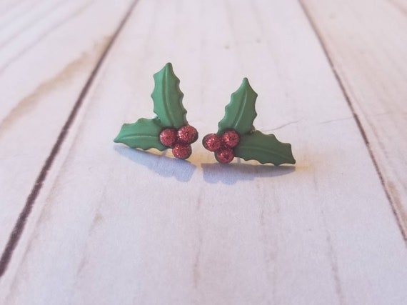 Christmas Holly Stud Earrings | Holiday Accessories | Holiday Jewelry | Christmas Earrings | Christmas Accessories | Winter Jewelry