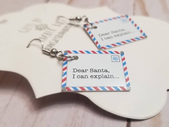 Letter To Santa Earrings | Dear Santa I Can Explain | Holiday Accessories | Christmas Earrings | Holiday Jewelry | Festive Jewelry