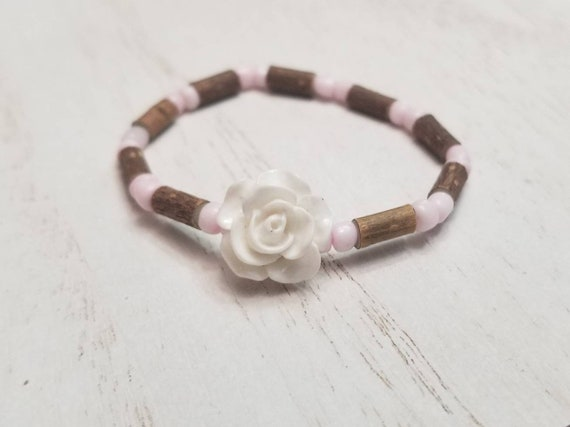 Pure Hazelwood Infant Kids White Rose Bracelet Anklet | Teething Jewelry | Excema Remedy | Natural Remedies | Hazel Wood | Baby Jewelry