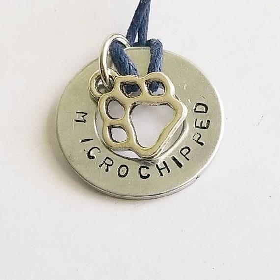 Microchipped Dog Collar Charm | Washer Dog Tag | Dog Accessories | Dog Neckwear