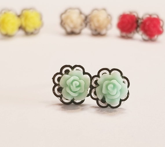 Black Lace And Rose Stud Earrings | Color Rose Earrings | Dainty Earrings | Simple Earrings | Rose Jewelry