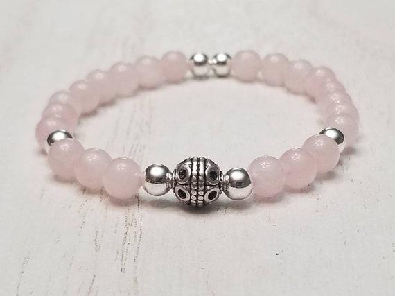 Silver Rose Quartz Stretch Bracelet | Rose Quartz Jewelry | Quartz Crystal | Gemstone Jewelry | Pink Rose Quartz | Gifts For Her