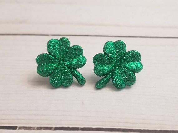 Glitter Green Shamrock Earrings | St Patrick's Day Earrings | Irish Pride | St Patty's Day | Shamrock Jewelry | Stud Earrings | Post Earring