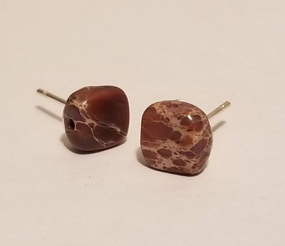 Chinese Imperial Jasper Stud Earrings | Jasper Stone | Imperial Jasper | Gemstone Earrings