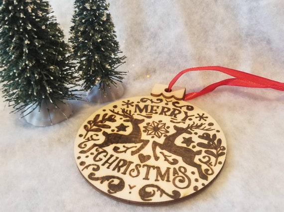 Woodburned Reindeer Merry Christmas Wooden Ornament | Pyrography Ornament | Ornament Exchange | Wooden Ornament | Handmade Ornament